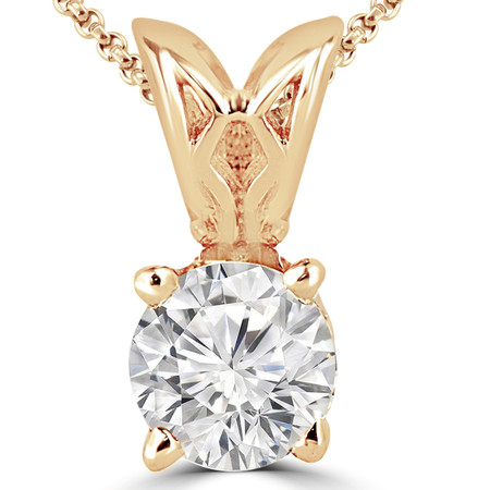 Round Cut Diamond Solitaire 4-Prong Decorative-Bail Pendant Necklace with Chain in Yellow Gold - #PRF-Y