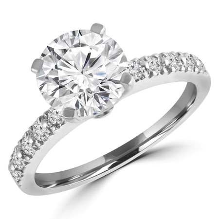 Round Cut Diamond Multi-Stone 4-Prong Engagement Ring with Round Diamond Accents in White Gold - #HR10362-W