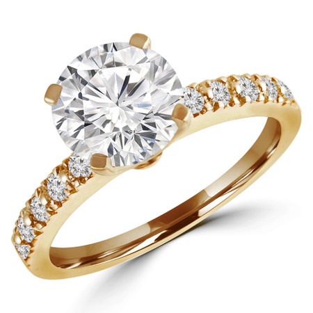 Round Cut Diamond Multi-Stone 4-Prong Engagement Ring with Round Diamond Accents in Yellow Gold - #HR10362-Y
