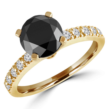 Round Cut Black Diamond Multi-Stone 4-Prong Engagement Ring with Round White Diamond Accents in Yellow Gold - #HR10362-Y-BLK
