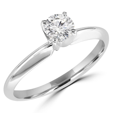 Round Cut Diamond Solitaire 4-Prong Engagement Ring in White Gold - #S4R-W