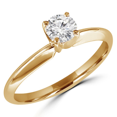 Round Cut Diamond Solitaire 4-Prong Engagement Ring in Yellow Gold - #S4R-Y