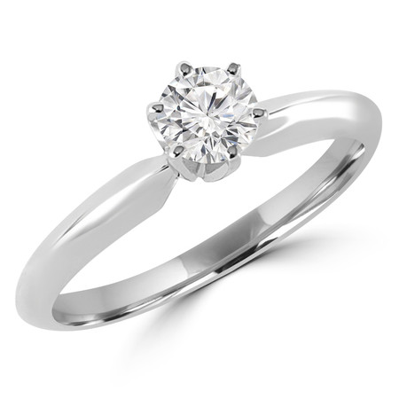 Round Cut Diamond Solitaire 6-Prong Engagement Ring in White Gold - #S6R-W