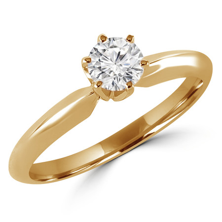 Round Cut Diamond Solitaire 6-Prong Engagement Ring in Yellow Gold - #S6R-Y