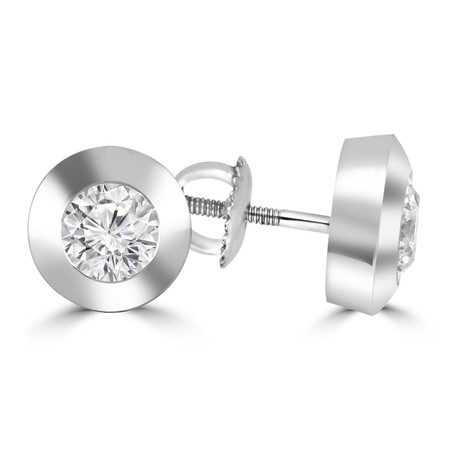 Round Cut Diamond Solitaire Bezel-Set Stud Earrings with Screwbacks in White Gold - #R457-W