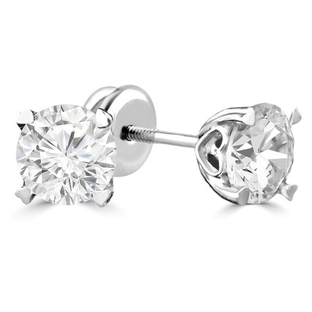 Round Cut Diamond Solitaire 4-Prong Stud Earrings with Screwbacks in White Gold - #S470H-W
