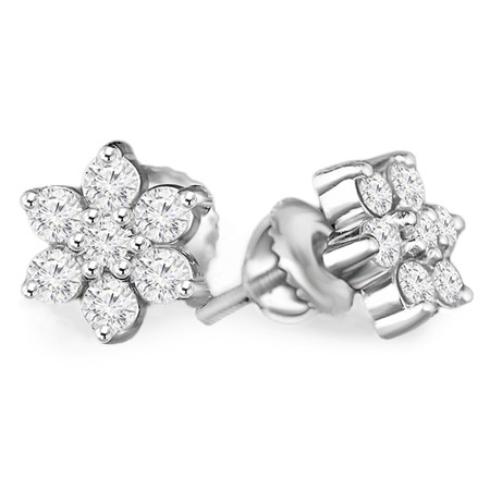 Round Cut Diamond Multi-Stone Star Motif Shared-Prong Stud Earrings with Screwbacks in White Gold - #C425H-W