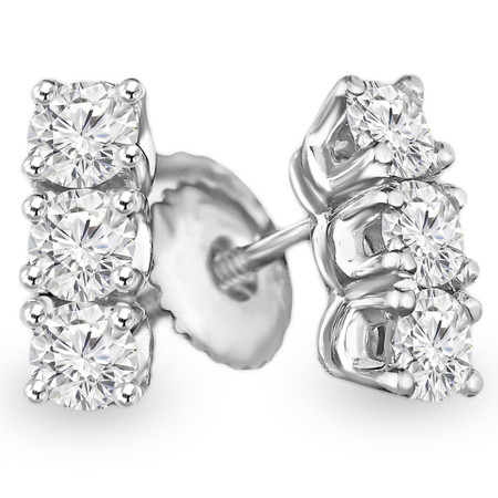 Round Cut Diamond Three-Stone 4-Prong Stick Stud Earrings with Screw Backs in White Gold - #C430H-W