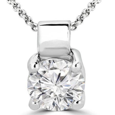 Round Cut Diamond Solitaire 4-Prong Pendant Necklace with Chain in White Gold - #R730-W