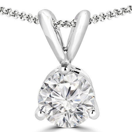 Round Cut Diamond Solitaire 3-Prong Pendant Necklace with Chain in White Gold - #R740-W