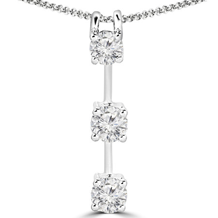 Round Cut Diamond Three-Stone 4-Prong Pendant Necklace with Chain in White Gold - #R753L-W
