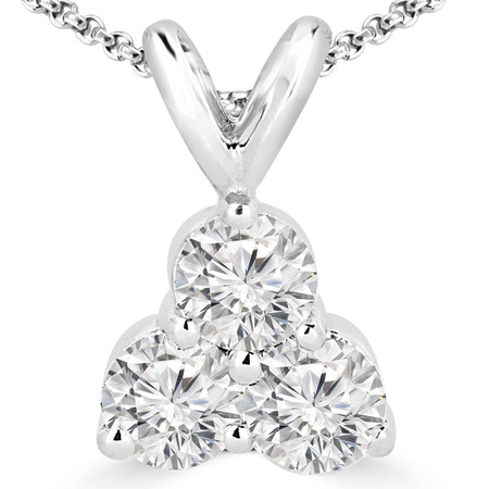 Round Cut Diamond Three-Stone Shared-Prong Pendant Necklace with Chain in White Gold - #C726-W