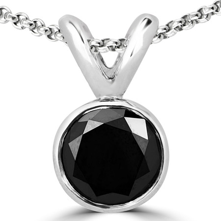 Round Cut Black Diamond Solitaire Bezel-Set Pendant Necklace with Chain in White Gold - #R720-W-BLK