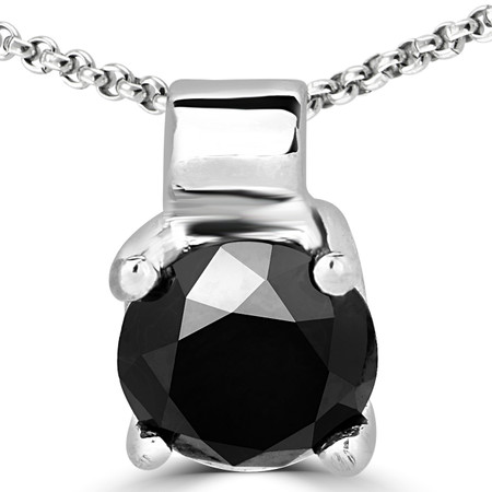 Round Cut Black Diamond Solitaire 4-Prong Pendant Necklace with Chain in White Gold - #R730-W-BLK