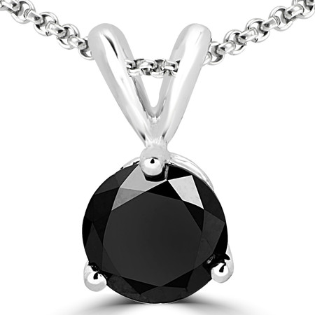 Round Cut Black Diamond Solitaire 3-Prong Pendant Necklace with Chain in White Gold - #R740-BLK-W