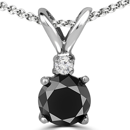 Round Cut Black Diamond Two-Stone 4-Prong Pendant Necklace with a Round White Diamond Accent & Chain in White Gold - #R711-BLK-W
