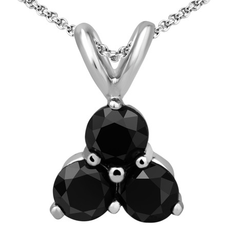 Round Cut Black Diamond Three-Stone Shared-Prong Pendant Necklace with Chain in White Gold - #C726-W-BLK