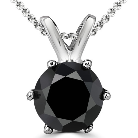 Round Cut Black Diamond Solitaire 6-Prong Pendant Necklace with Chain in White Gold - #P6R-W-BLK
