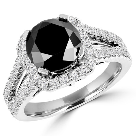 Round Cut Black Diamond Multi-Stone Split-Shank 4-Prong Halo Vintage Engagement Ring with Round Diamond Accents in White Gold - #HR6200-W-BLK