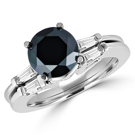 Round Cut Black Diamond Multi-Stone 4-Prong Engagement Ring & Wedding Band Bridal Set with Baguette Cut White Diamond Accents in White Gold - #HR8091-W-BLK