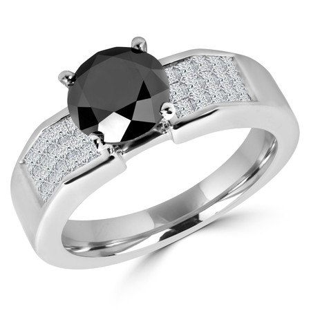 Round Cut Black Diamond Multi-Stone 4-Prong Engagement Ring with Princess Cut White Diamond Invisible-Set Accents in White Gold - #HR10098-W-BLK