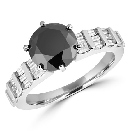 Round Cut Black Diamond Multi-Stone 6-Prong Engagement Ring with Baguette Cut White Diamond Accents in White Gold - #HR10583-W-BLK