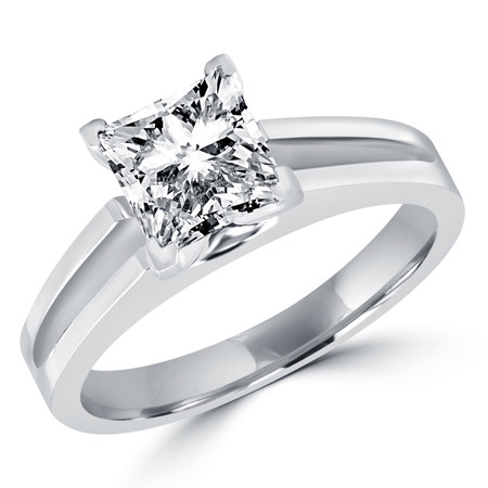 Princess Cut Diamond Solitaire Split Shank V-Prong Engagement Ring in White Gold - #210LP-W