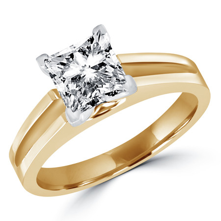 Princess Cut Diamond Solitaire Split Shank V-Prong Engagement Ring in Yellow Gold - #210LP-Y