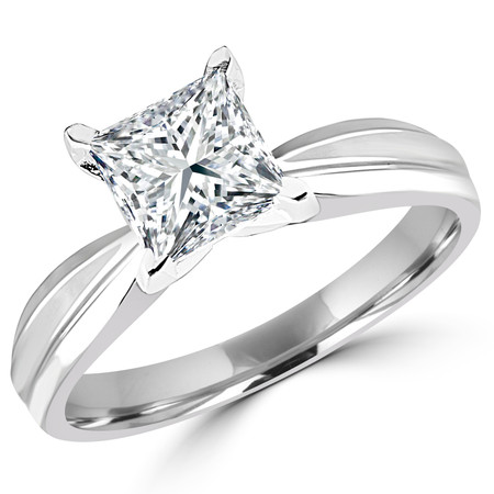 Princess Cut Diamond Solitaire Tapered Shank V-Prong Engagement Ring in White Gold - #714LP-W