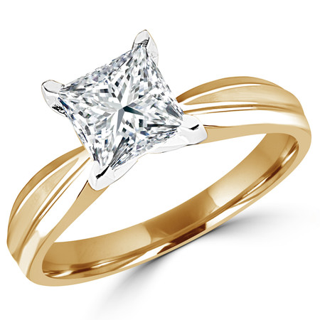 Princess Cut Diamond Solitaire Tapered Shank V-Prong Engagement Ring in Yellow Gold - #714LP-Y