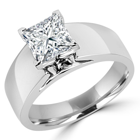 Princess Cut Diamond Solitaire Wide Shank Cathedral Set 4-Prong Engagement Ring in White Gold - #954LP-W