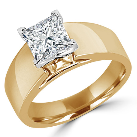 Princess Cut Diamond Solitaire Wide Shank Cathedral Set 4-Prong Engagement Ring in Yellow Gold - #954LP-Y