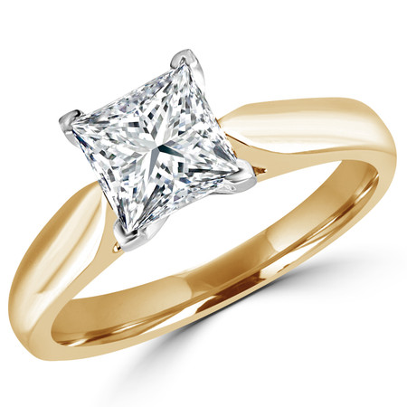 Princess Cut Diamond Solitaire V-Prong Engagement Ring in Yellow Gold - #1244LP-Y