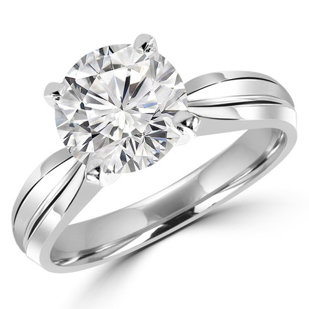 Round Cut Diamond Solitaire Tapered Shank V-Prong Engagement Ring in White Gold - #714L-W