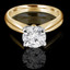 Round Cut Diamond Solitaire Tapered Shank V-Prong Engagement Ring in Yellow Gold - #714L-Y