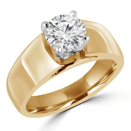 Round Cut Diamond Solitaire Wide Shank Cathedral Set 4-Prong Engagement Ring in Yellow Gold - #954-Y