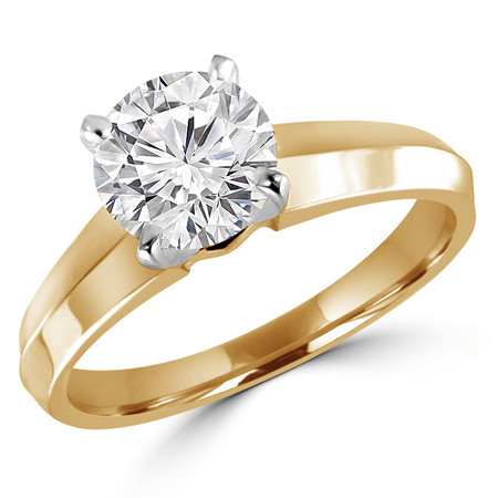 Round Cut Diamond Solitaire 4-Prong Knife-Edge Engagement Ring in Yellow Gold - #1535L-Y