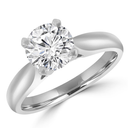 Round Cut Diamond Solitaire 4-Prong Cathedral-Set Engagement Ring in White Gold - #1244L-W