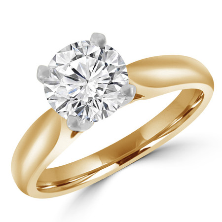 Round Cut Diamond Solitaire 4-Prong Cathedral-Set Engagement Ring in Yellow Gold - #1244L-Y