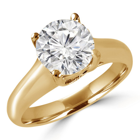 Round Cut Diamond Solitaire 4-Prong Cathedral & Trellis-Set Engagement Ring in Yellow Gold - #SRD2065-Y