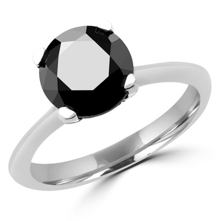 Round Cut Black Diamond Solitaire Tapered-Shank 4-Prong Engagement Ring in White Gold - #SRD2656-BLK-W
