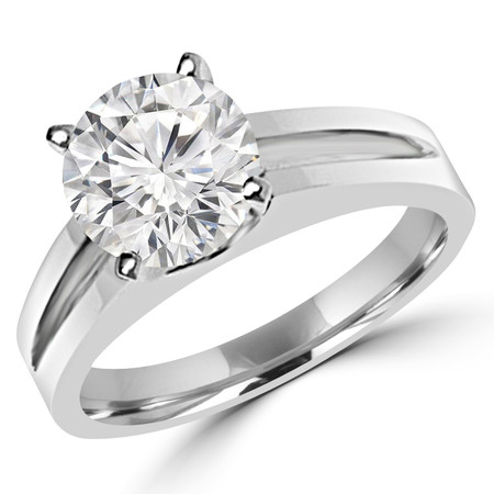 Round Cut Diamond Solitaire Split Shank 4-Prong Engagement Ring in White Gold - #210L-W