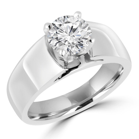 Round Cut Diamond Solitaire Wide Shank Cathedral Set 4-Prong Engagement Ring in White Gold - #954L-W