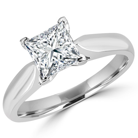 Princess Cut Diamond Solitaire V-Prong Cathedral-Set Engagement Ring in White Gold - #1244LP-W