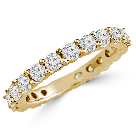 Round Cut Diamond Full-Eternity Shared-Prong Diamond Wedding Band Ring in Yellow Gold - #HR6950-Y