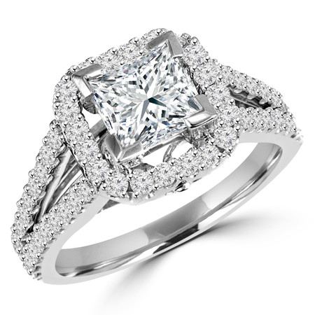 Princess Cut Diamond Multi-Stone Split-Shank V-Prong Halo Vintage Engagement Ring with Round Diamond Accents in White Gold - #HR6200-PR-W