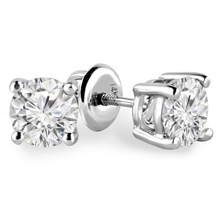 Round Cut Diamond Solitaire 4-Prong Stud Earrings with Screwbacks in White Gold - #R418-W