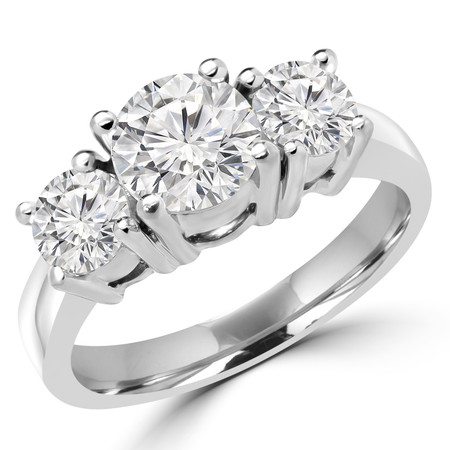 Round Cut Diamond Three-Stone 4-Prong Engagement Ring in White Gold - #871L-872L-873L-W