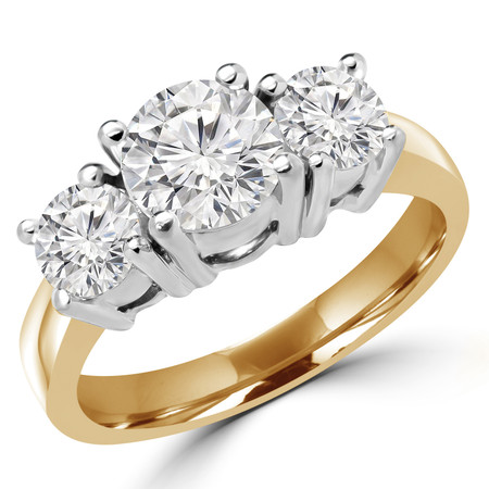 Round Cut Diamond Three-Stone 4-Prong Engagement Ring in Yellow Gold - #871L-872L-873L-Y