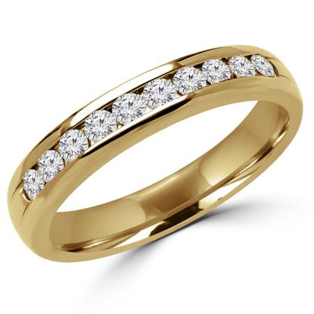 Round Cut Diamond Semi-Eternity Channel-Set Wedding Band Ring in Yellow Gold - #1546L-Y
